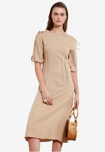 Trendyol brown Shoulder Tie Detail Midi Dress 931ABAAAC91FFEGS_1