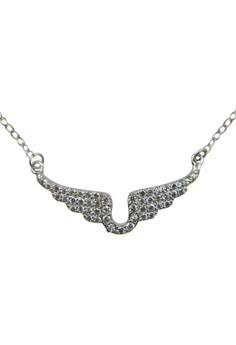 S925 Fine Silver Angel Wings Pattern Silver Rolo Chain
