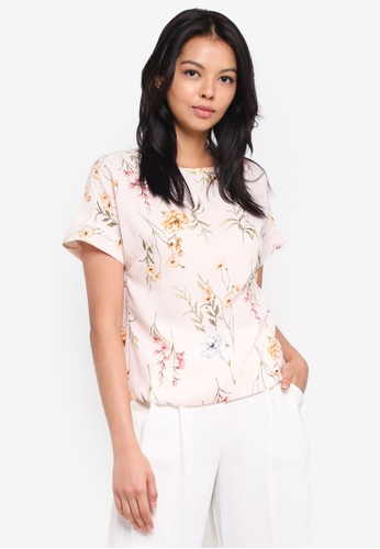 Dorothy Perkins pink Petite Blush Floral Linen Tee AEAE0AAAF30C43GS_1