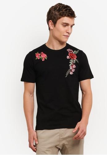 Flesh IMP black Flower Garden Patches T-Shirt FL064AA0S5TSMY_1