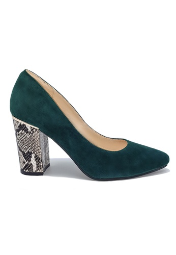 Toufie green Aruba 80 High Heel Snake And Leather - Emerald Green And Black & White 756EASH6FB1952GS_1