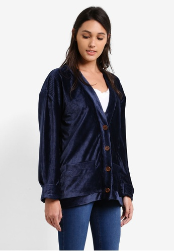 Something Borrowed navy Cuffed Sleeve Boxy Cardigan 50AF4AAE62A211GS_1