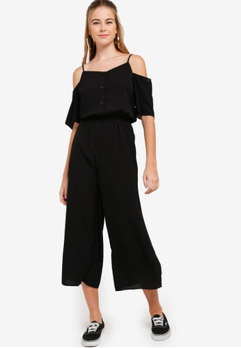 Something Borrowed black Cold Shoulder Buttoned Down Jumpsuit 23497AAF27A9B2GS_1