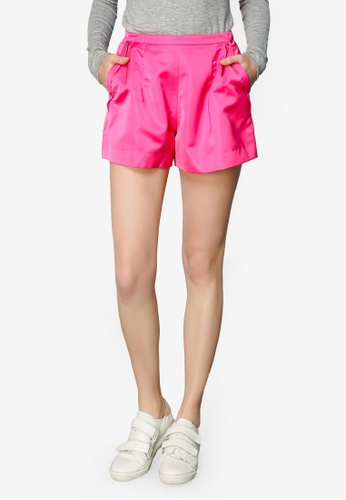 Hopeshow pink Pleated Tailored Shorts 6E50DAA892D731GS_1