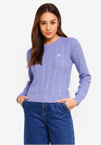 Jack Wills blue Tinsbury Cable Crew Pullover E9CEDAAE8606F9GS_1