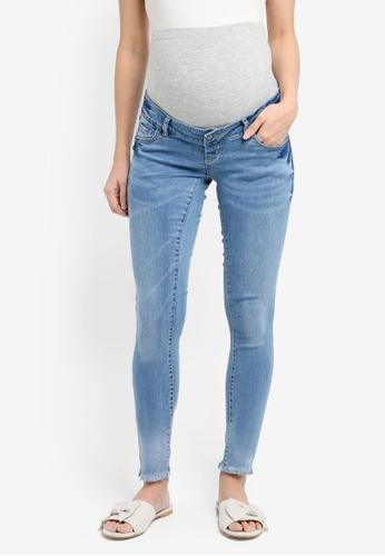 Mama.licious blue Maternity Crinkle Light Blue Slim Jeans B5F4DAA5874C75GS_1