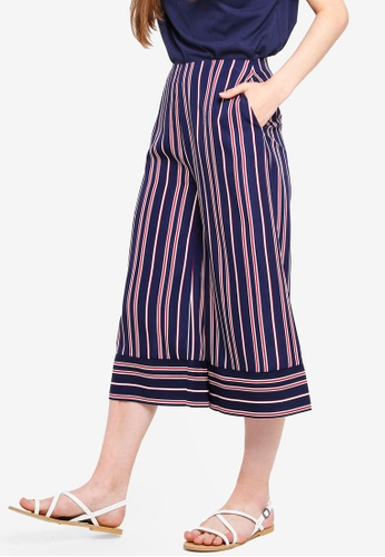 Something Borrowed red and navy Printed Culottes A28C2AABB3803BGS_1