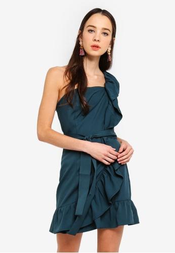 Something Borrowed 綠色 Ruffled Toga Dress 30062AAE5B3926GS_1