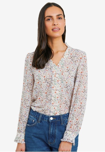 FORCAST white Siena Floral Print Blouse 71BC8AA330374BGS_1