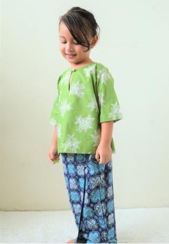 AYAYU white and green and blue and multi KUNTUMK Baju Kurung Kedah with Sarong Malaysia Handblocked Batik Lime Green 410DDKAD75511EGS_1