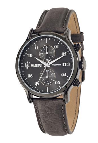 Maserati grey Epoca Quartz Watch R8871618002 Dark Grey Leather Strap 75A60AC0B8F0A3GS_1