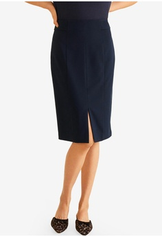 Mango blue and navy Side Tab Suit Skirt 165D0AAEDBFFD9GS 1 8c9253e1a