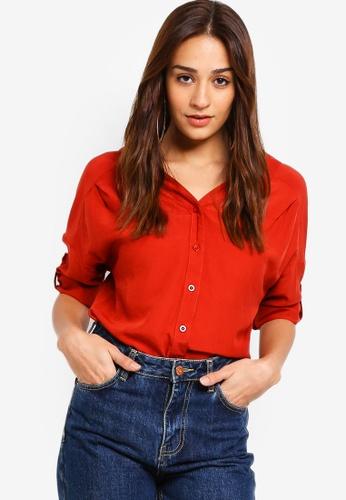 ZALORA orange Drop Shoulder Shirt 07723AACE843A6GS_1