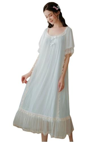 LYCKA blue LML1248-Lady One Piece Casual Pajamas-Blue E0F02AA66286ACGS_1