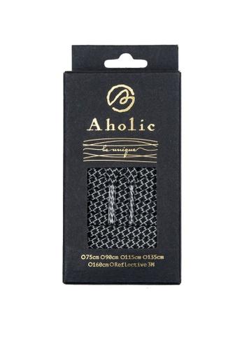 Aholic 黑色 3M反光扁鞋帶 - 黑蛇紋 AH662SH09XEXTW_1
