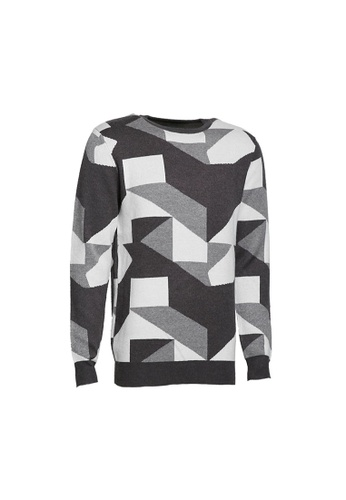 Universal Traveller grey Universal Traveller Crew Neck Knitted Sweater With Pattern - KS 9159 EFE95AA2EA3FFBGS_1