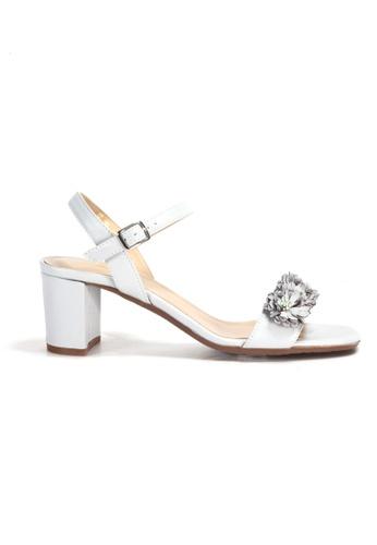 Shu Talk grey Floral Trim Sandal Heels with Ankle Straps 64E72SHC9C3159GS_1