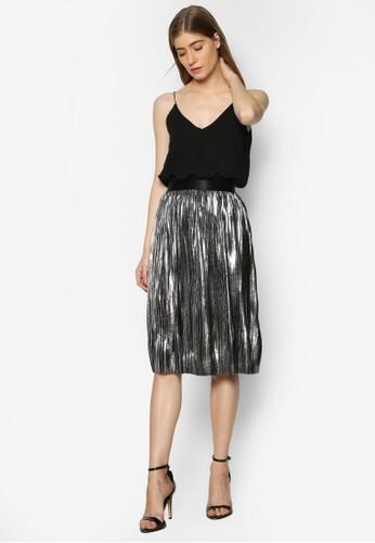 Andrea 金屬褶飾細肩帶洋裝、 服飾、 服飾TFNCAndrea金屬褶飾細肩帶洋裝最新折價