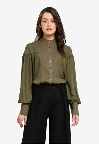Zalia green Mixed Fabric Blouse 91F25AA6E7F57AGS_1