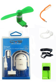 CYS 3 in 1 Charger and Portable Micro USB Mini Fan with FREE USB LED Light, OK Stand, Desktop Charger, Car Charger