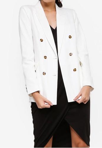 ZALORA white Contrast Buttons Double Breasted Blazer B66B8AA4E25CDBGS_1