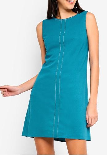 ZALORA green Stitch Detail Dress 1ADCBAA6AD38F4GS_1