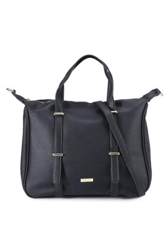 Mel&Co black Faux Leather Top Handle Satchel 69C1DAC94E1D9EGS_1