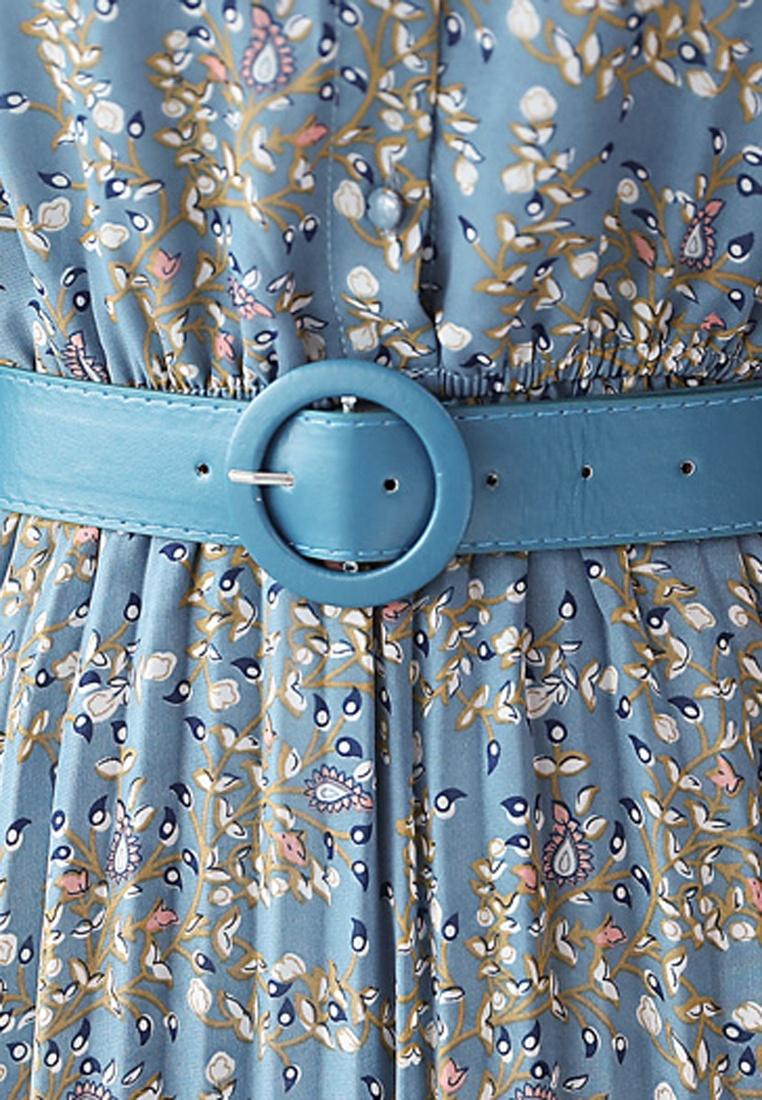Blue Dress Pleated Floral Halo Printed wf7q1I