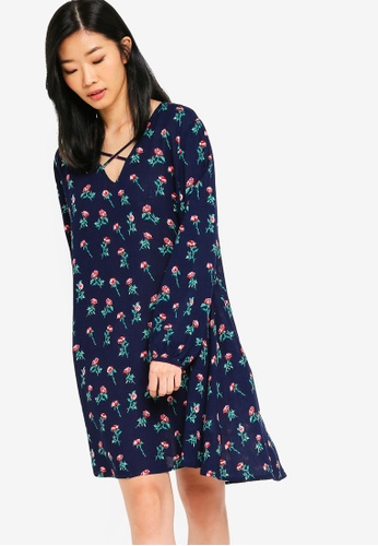 Something Borrowed multi and navy Relaxed Long Sleeves Swing Dress 811EDAAAECF86AGS_1
