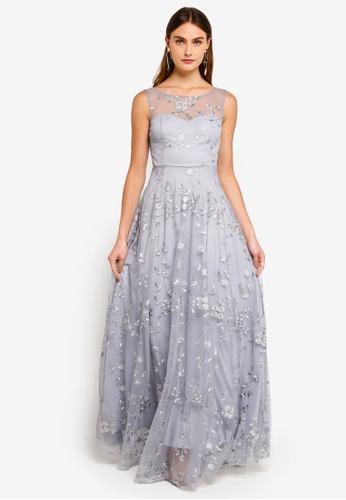 Goddiva grey Mesh Embroidered Maxi Dress 00F0CAAAE92D6BGS_1