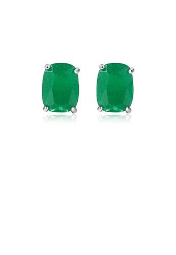 Glamorousky green 925 Sterling Silver Elegant Simple Geometric Oval Green Cubic Zirconia Stud Earrings F7533ACE76D1A6GS_1