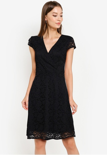 ZALORA WORK black Cap Sleeve Lace Dress 919F5AA7E5598EGS_1