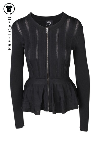 Mcq By Alexander Mcqueen black Pre-Loved mcq by alexander mcqueen Black Ribbed Zip-Up Peplum Cardigan 7C3F4AAB0DA00EGS_1