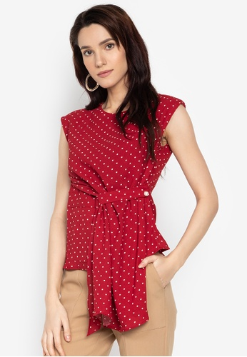 3a477ed6fe2fce Shop F.101 Sleeveless Polka-Dot Tie Side Blouse Online on ZALORA ...