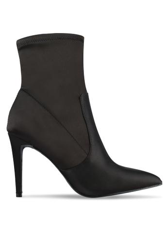 Dorothy Perkins black Ally Satin Sock Boots DO816SH0S2KLMY_1