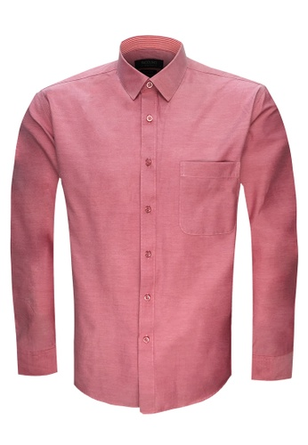 Pacolino red and pink Casual Smart Long Sleeve Shirt PA995AA0RUBEMY_1