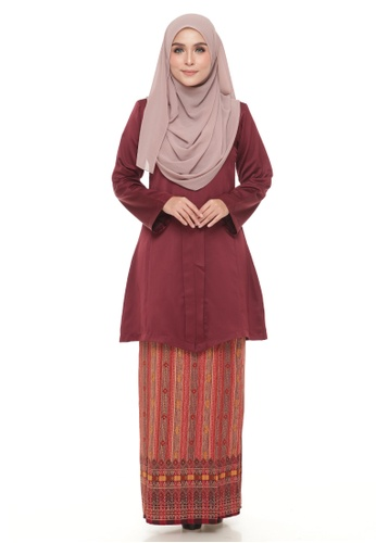 Kebaya Maya (Maroon) from Ms.Husna Apparel in Red
