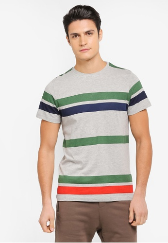 ZALORA grey and multi Printed Stripes Tee 6BE17AACD2D67EGS_1