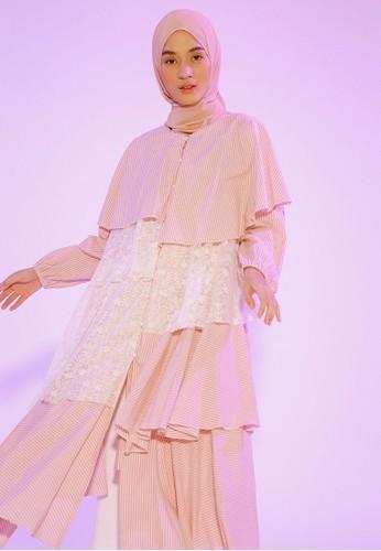 HijabChic pink Hawa Stripe Pink Tunic 11224AAADD0177GS_1