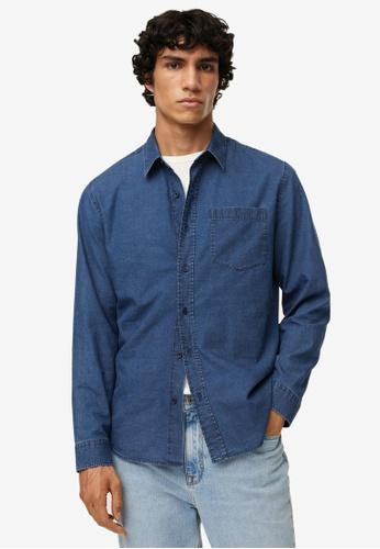 MANGO Man blue Regular-Fit Denim Shirt With Pocket F96A3AA0E24128GS_1