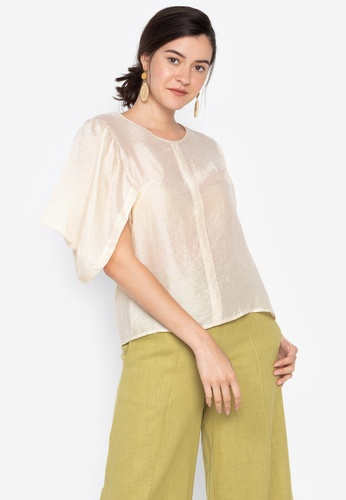 the___edit beige Lily Draped Sleeves Sheer Top 48B7CAADB64FE7GS_1