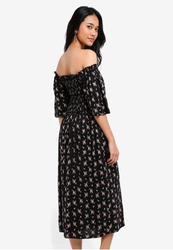 8911f285b9310d Buy TOPSHOP Sheared Flute Sleeve Midi Dress Online | ZALORA Malaysia