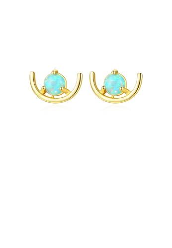 Glamorousky blue 925 Sterling Silver Plated Gold Simple Fashion Geometric Blue Imitation Opal Stud Earrings 48148AC234ECE0GS_1