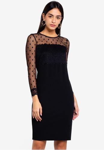 Shop Wallis Petite Black Dobby Lace Shift Dress Online On Zalora