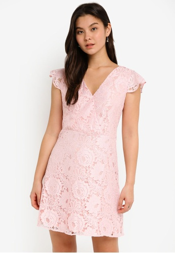 Dorothy Perkins pink Blush Lace Ruffle Midi Dress 4BCF8AA506BF8CGS_1
