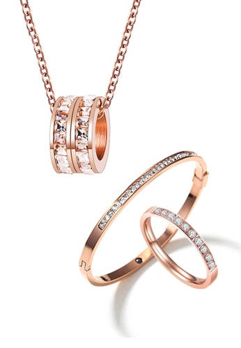 Buy Celovis Celovis Eloise Necklace Paired With Arya Bangle And Diamante Ring Jewellery Set In Rose Gold Online Zalora Malaysia