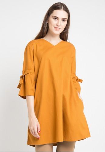 ELLE brown Long Sleeve 7/8 Tunic 2839BAA7812002GS_1