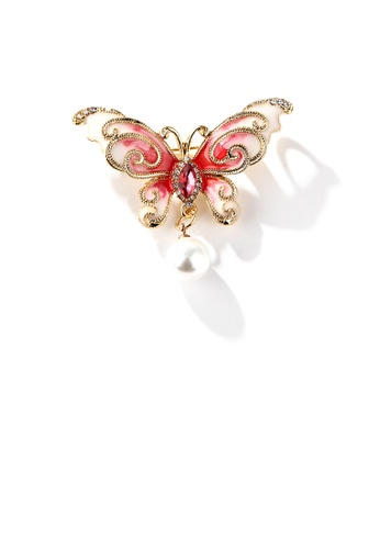 Glamorousky red Fashion and Elegant Plated Gold Enamel Red Butterfly Imitation Pearl Brooch with Cubic Zirconia 4E2C5ACD3E575AGS_1