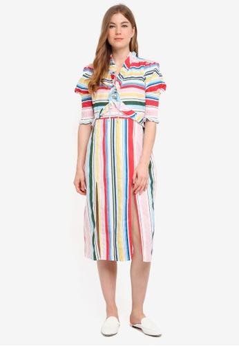 fb356a651689 Shop Vero Moda Bow Stripe Midi Dress Online on ZALORA Philippines