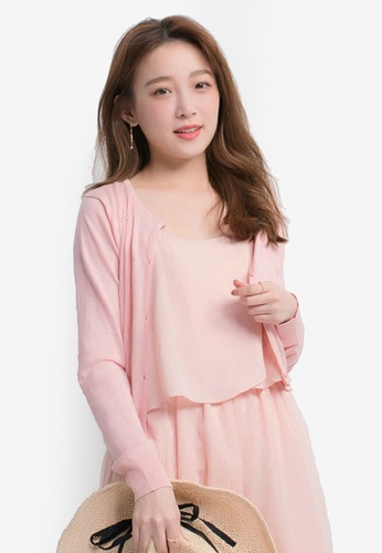 Yoco pink Heart Shape Patterned Cardigan CF865AA7872432GS_1